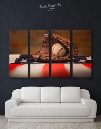 4 Panels Baseball Wall Art Canvas Print - 4 Panels bachelor pad baseball baseball wall art Living Room