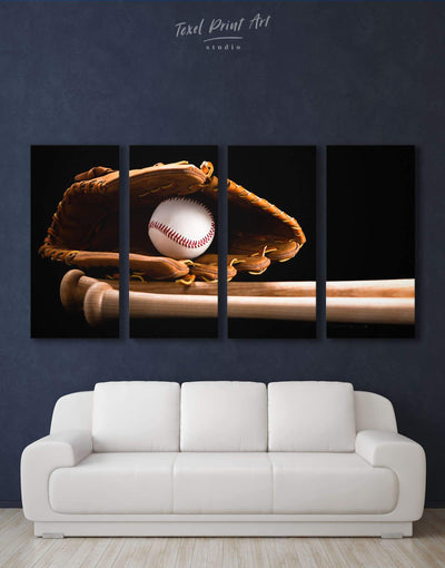 4 Panels Baseball Wall Art Canvas Print - 4 Panels bachelor pad baseball baseball wall art bedroom