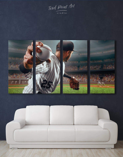 4 Panels Baseball Wall Art Canvas Print - 4 Panels bachelor pad baseball wall art bedroom inspirational wall art