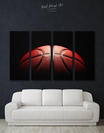 4 Panels Basketball Wall Art Canvas Print - Canvas Wall Art 4 Panels basketball black Hallway Living Room