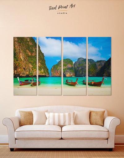 4 Panels Beach in Thailand Wall Art Canvas Print - 4 Panels Beach House beach wall art bedroom coastal wall art
