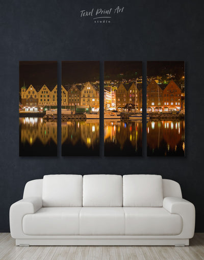 4 Panels Bergen City Wall Art Canvas Print - 4 Panels bedroom Brown City Skyline Wall Art Cityscape