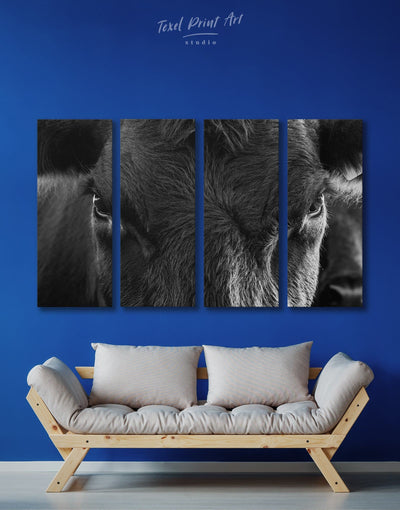 4 Panels Black and White Cow Wall Art Canvas Print - 4 Panels Animals bedroom black and white wall art cow canvas wall art