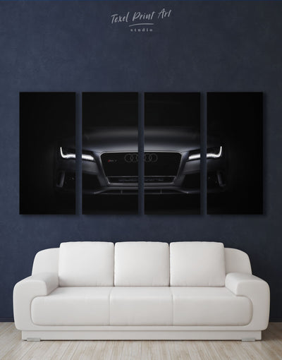 4 Panels Black Audi Car Wall Art Canvas Print - 4 Panels bachelor pad manly wall art wall art for men
