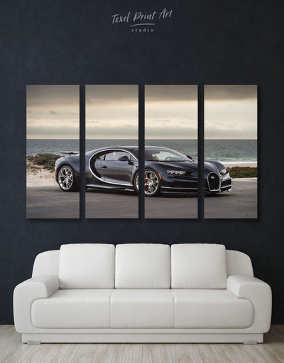 4 Panels Black Bugatti Chiron Wall Art Canvas Print - 4 Panels bachelor pad car garage wall art race car wall art