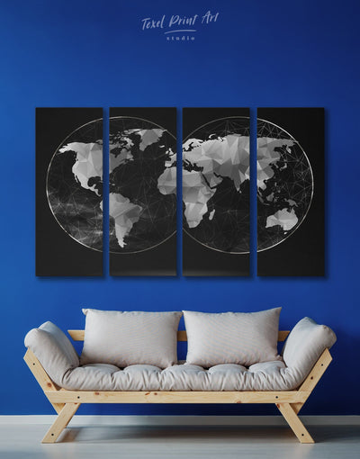 4 Panels Black World Map Wall Art Canvas Print - 4 Panels Abstract map abstract world map wall art bedroom Black