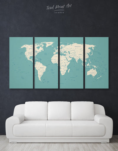 4 Panels Blue and White World Map Wall Art Canvas Print - 4 Panels bedroom Blue blue and white Blue wall art for living room