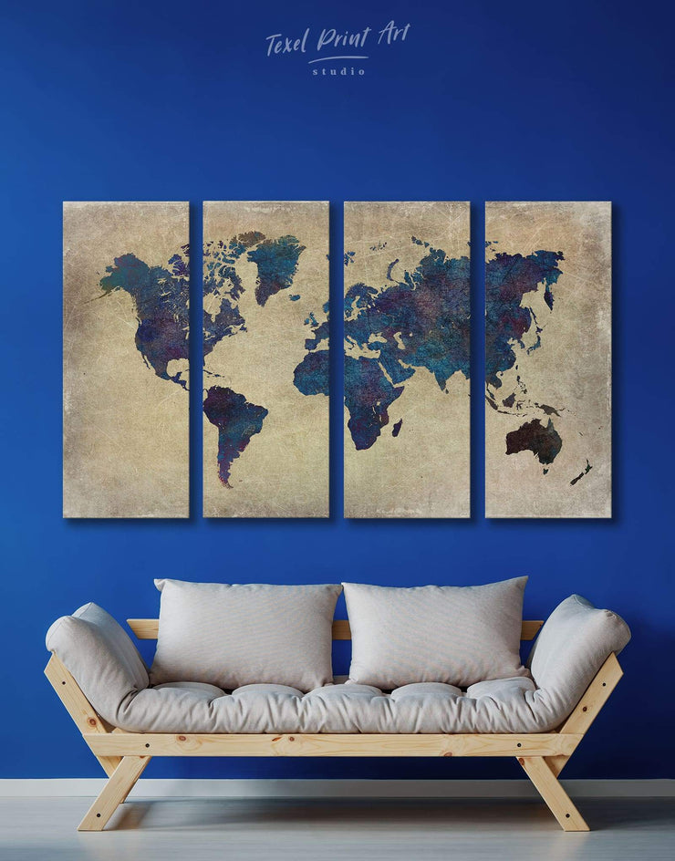 4 Panels Blue World Map Wall Art Canvas Print - 4 Panels Abstract Abstract map bedroom Blue