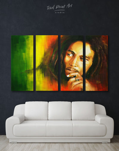 4 Panels Bob Marley Wall Art Canvas Print - 4 Panels bachelor pad bedroom Hallway Living Room