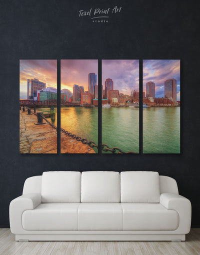 4 Panels Boston Skyline Wall Art Canvas Print - 4 Panels bedroom Boston Cityscape Dining room
