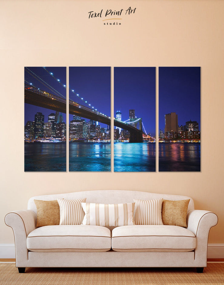 4 Panels Breathtaking Brooklyn Bridge Wall Art Canvas Print - 4 Panels bedroom Blue blue wall art for bedroom Blue wall art for living room