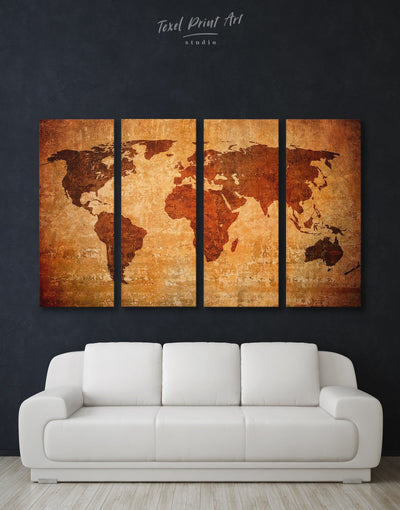 4 Panels Brown Abstract Map Wall Art Canvas Print - 4 Panels Abstract Abstract map bedroom Brown