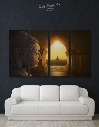 4 Panels Buddhist Religion Wall Art Canvas Print - 4 Panels bedroom Brown Buddha wall art buddhist wall art