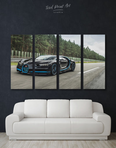 4 Panels Bugatti Chiron Car Wall Art Canvas Print - 4 Panels bachelor pad Car garage wall art Grey