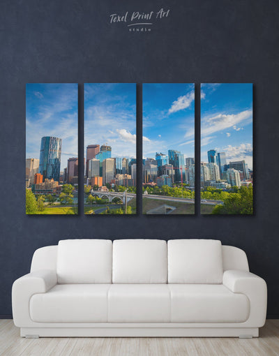 4 Panels Canada Skyline Wall Art Canvas Print - 4 Panels bedroom Blue blue and green wall art City Skyline Wall Art