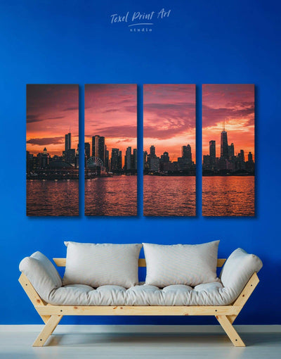 4 Panels Chicago Skyline at Night Wall Art Canvas Print - Canvas Wall Art 4 Panels bedroom City Skyline Wall Art Cityscape Dining room