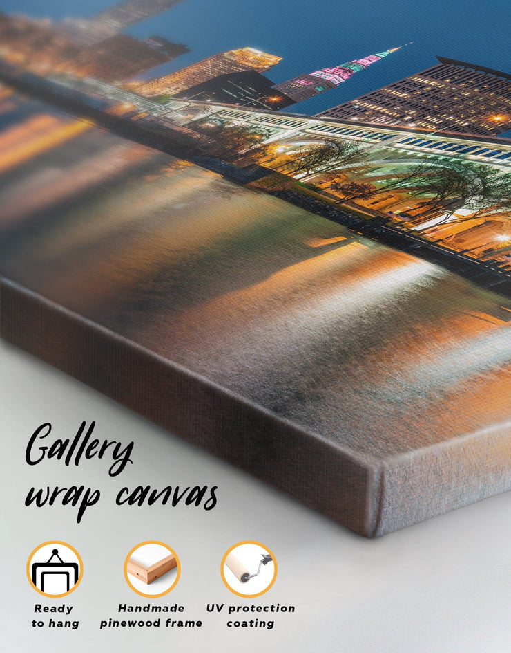 4 Panels Cleveland Wall Art Canvas Print - 4 Panels bedroom City Skyline Wall Art Cityscape cleveland wall art