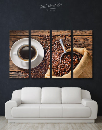4 Panels Coffee Wall Art Canvas Print - 4 Panels Brown Dining room Kitchen