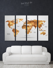 4 Panels Colorful Abstract Map Wall Art Canvas Print