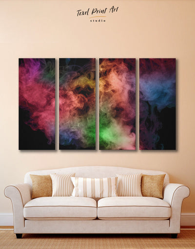 4 Panels Colorful Smoke Wall Art Canvas Print - 4 Panels Abstract bedroom Black Contemporary