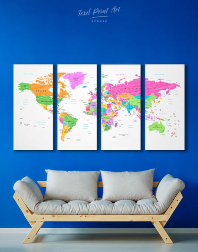 4 Panels Colorful World Map Wall Art Canvas Print - 4 Panels bedroom contemporary wall art map of the world labeled modern wall art