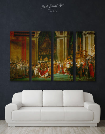 4 Panels Coronation of Napoleon by Jacques-Louis David Wall Art Canvas Print - 4 Panels bedroom Hallway Library Living Room