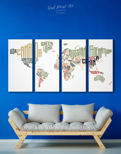 4 Panels Country Names World Map Wall Art Canvas Print - 4 Panels Abstract map bedroom Contemporary Living Room
