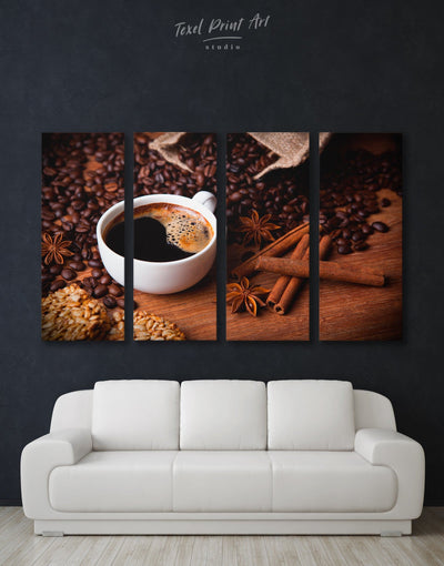4 Panels Cup of Coffee Wall Art Canvas Print - 4 Panels Brown Dining room Kitchen
