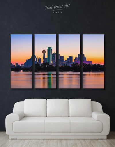 4 Panels Dallas Skyline Wall Art Canvas - Canvas Wall Art 4 Panels bedroom City Skyline Wall Art Cityscape dallas wall art