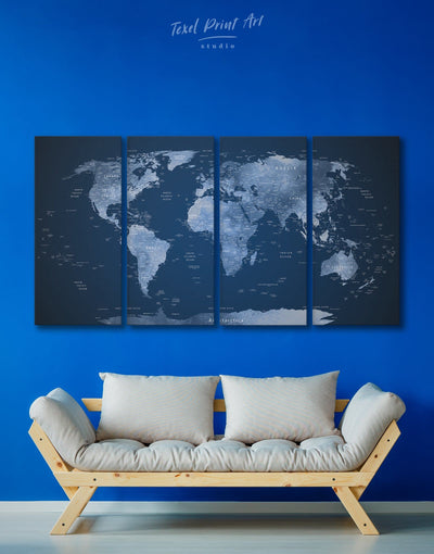 4 Panels Dark Blue World Map Wall Art Canvas Print - 4 Panels bedroom Blue Blue wall art for living room contemporary wall art