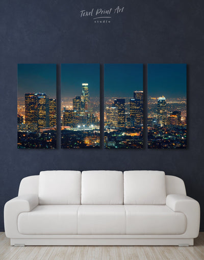 4 Panels Downtown Los Angeles Wall Art Canvas - Canvas Wall Art 4 Panels bedroom City Skyline Wall Art Cityscape Hallway
