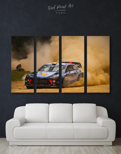 4 Panels Drifting Hyundai i20 WRC Wall Art Canvas Print - 4 Panels bachelor pad Car garage wall art wall art for men
