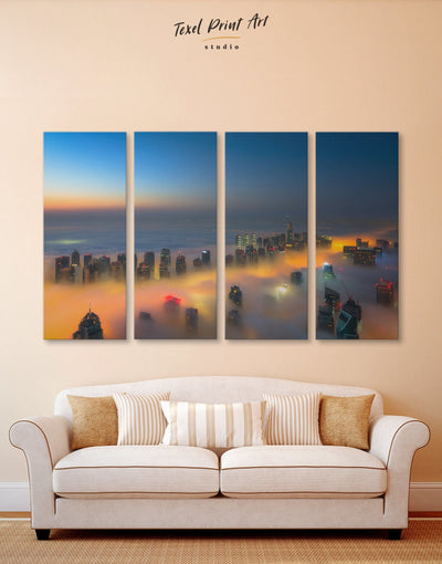 4 Panels Dubai Wall Art Canvas Print - 4 Panels City Skyline Wall Art Cityscape Dubai Living Room