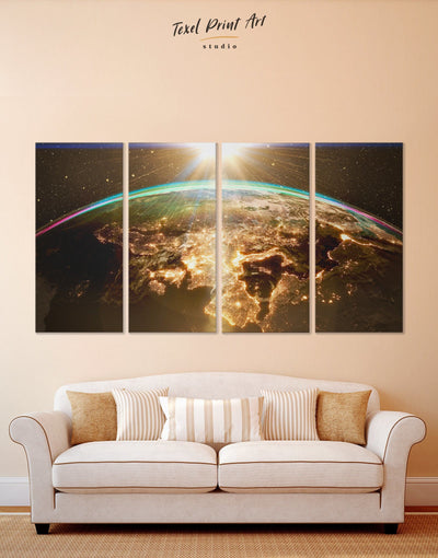 4 Panels Earth Wall Art Canvas Print - 4 Panels Hallway Living Room Office Wall Art space canvas wall art