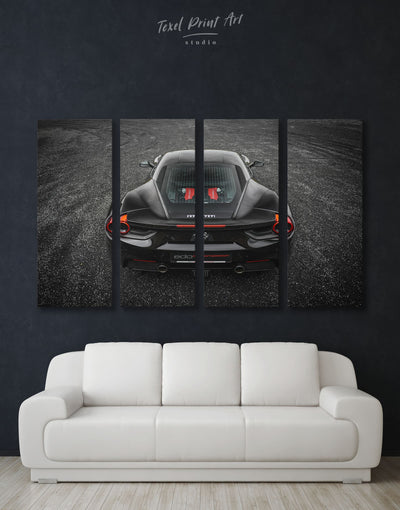 4 Panels Ferrari 488 GTB Car Wall Art Canvas Print - 4 Panels bachelor pad black car garage wall art