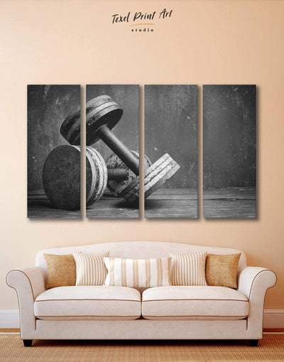 4 Panels Fitness Wall Art Canvas Print - 4 Panels black and white wall art Home Gym inspirational wall art living room wall art