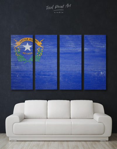 4 Panels Flag of Nevada State Patriotic Wall Art Canvas Print - 4 Panels Blue flag wall art framed wall art Hallway