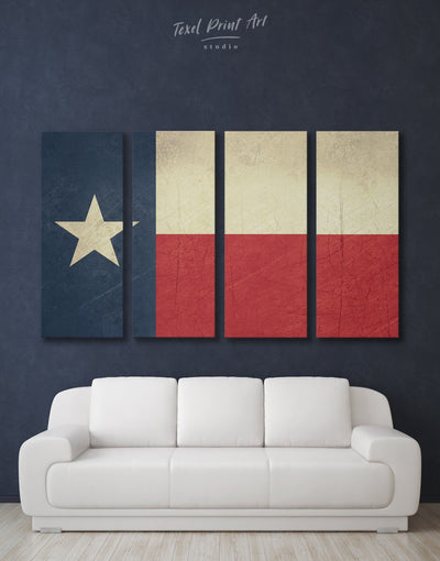 4 Panels Flag of Texas Wall Art Canvas Print - 4 Panels Flag Wall Art Living Room modern wall art Office Wall Art