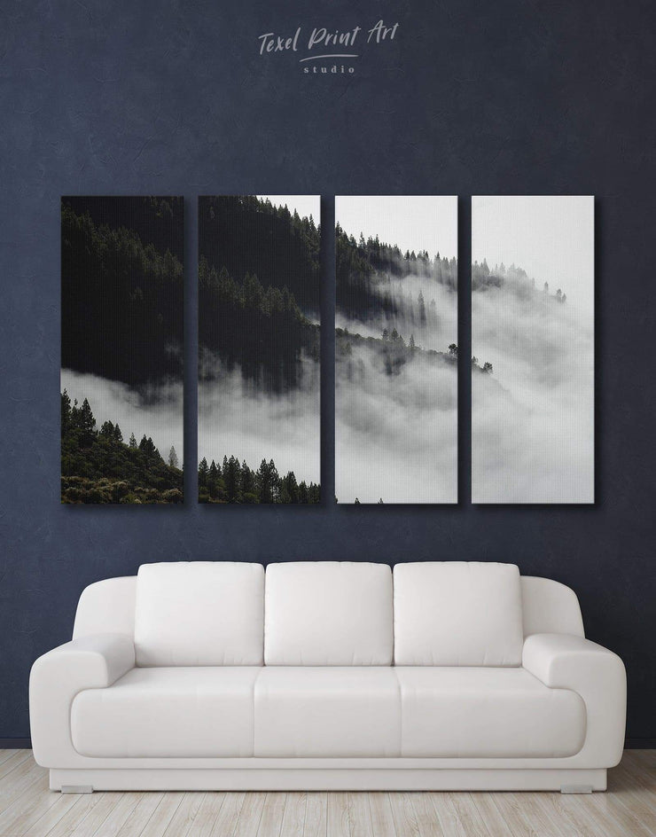 4 Panels Forest Wall Art Canvas Print - 4 Panels bedroom black and white wall art Dining room dining room wall art