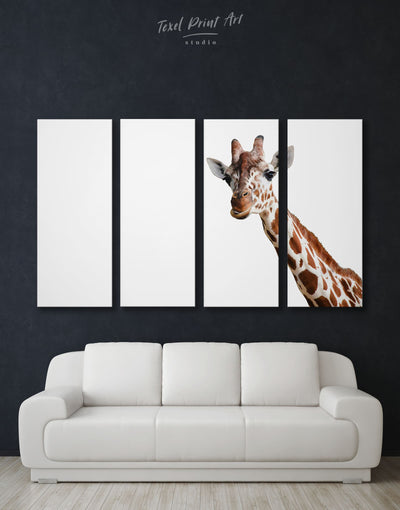 4 Panels Funny Giraffe Wall Art Canvas Print - 4 Panels Animal Animals bedroom Living Room