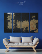 4 Panels Game of Thrones Map of Westeros Wall Art Canvas Print