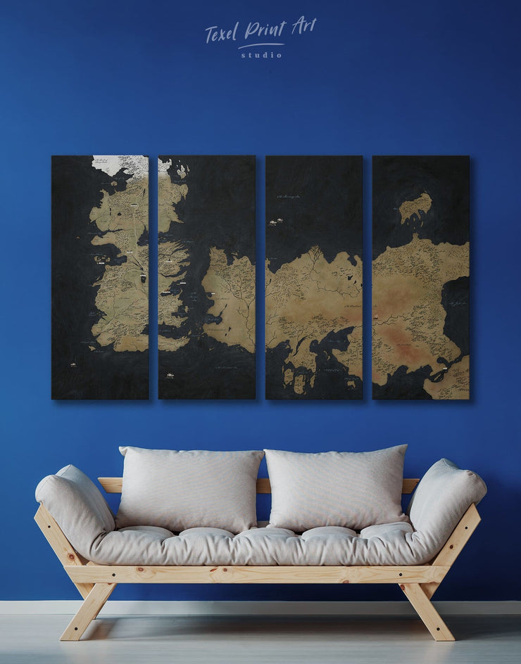 4 Panels Game of Thrones Map of Westeros Wall Art Canvas Print - 4 Panels bedroom Black Brown Game of Thrones