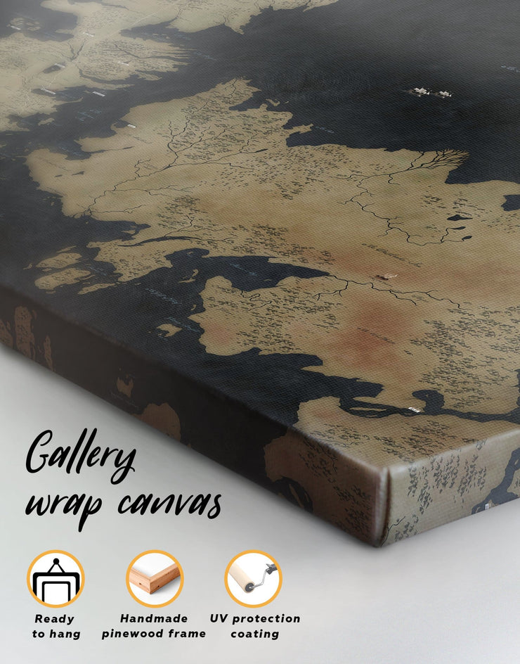 graphic regarding Printable Map of Westeros identified as 4 Panels Recreation of Thrones Map of Westeros Wall Artwork Canvas