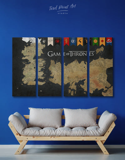 4 Panels Game of Thrones Map with House Flags Wall Art Canvas Print - 4 Panels bedroom black and gold wall art Dining room dining room wall