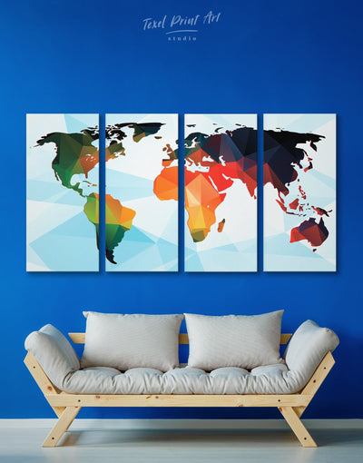 4 Panels Geometric World Map Wall Art Canvas Print - 4 Panels Abstract map blue corkboard geometric world map