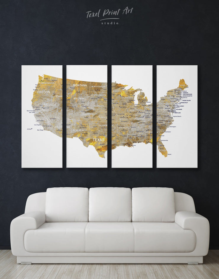 4 Panels Gold and Grey US Map Wall Art Canvas Print - 4 Panels bedroom Gilded world map wall art Gold Grey