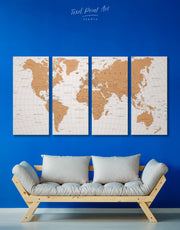 4 Panels Gold Detailed World Map Wall Art Canvas Print