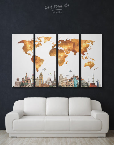 4 Panels Gold Map of the World Wall Art Canvas Print - 4 Panels Abstract Abstract map bedroom contemporary wall art