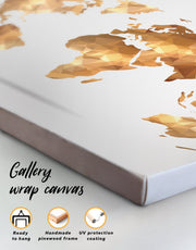 4 Panels Gold Modern World Map Wall Art Canvas Print