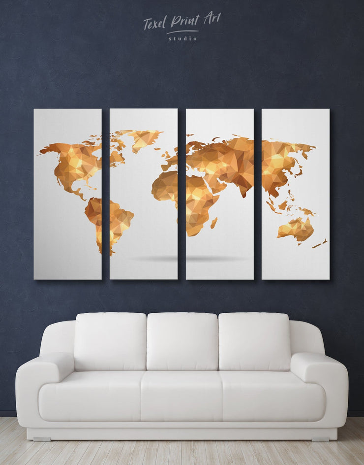4 Panels Gold Modern World Map Wall Art Canvas Print - 4 Panels Abstract map bedroom Geometric geometric wall art